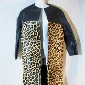 NEW CELINE ITALY LEATHER ZIP LEOPARD jacket coat